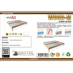 Rete matrimoniale modello Wood-m con supporti differenziati e cursori di regolazione del busto