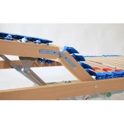 Rete matrimoniale modello e-Wood-m con supporti differenziati e cursori di regolazione del busto doppi motori